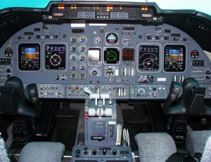 Cockpit of Learjet 23