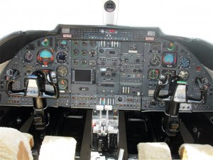 Cockpit of Learjet 55