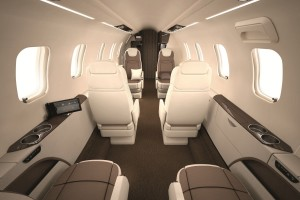 Interior of Learjet 70